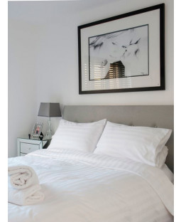 White Satin Stripe Super King Duvet Cover and Pillowcase Set