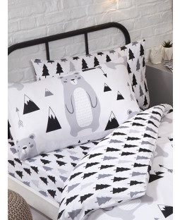 Scandi Bear Forest Single Fitted Sheet and Pillowcase Set