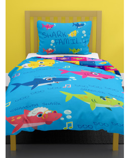 Shark Family Single Duvet Cover and Pillowcase Set