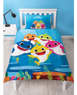 Baby Shark Single Duvet Cover and Pillowcase Set