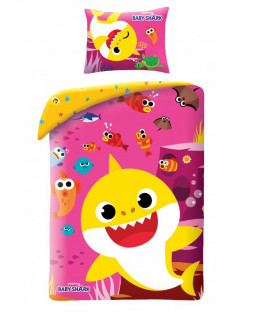 Baby Shark Pink Single Cotton Duvet Cover Set