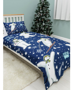 The Snowman and the Snowdog Starry Single Duvet Cover Set