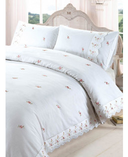 Sophie Floral White King Size Duvet Cover and Pillowcase Set
