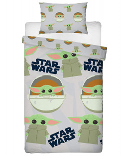 Ensemble de housse de couette simple Star Wars Baby Yoda Mandalorian Face