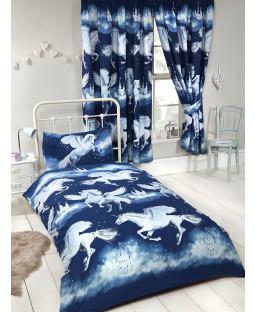Stardust Unicorn Junior Toddler Duvet Cover and Pillowcase Set - Navy Blue