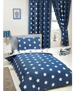 Navy Blue and White Stars Bedroom 4 in 1 Junior Bedding Bundle Set