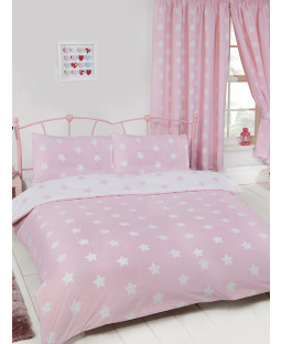 Pink and White Stars Double Duvet Cover Bedroom