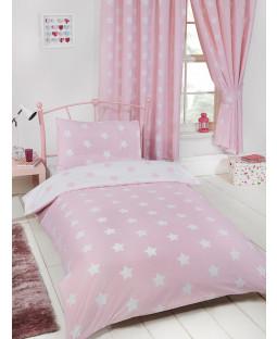 Pink and White Stars 4 in 1 Junior Toddler Bedding Bundle Set Bedroom