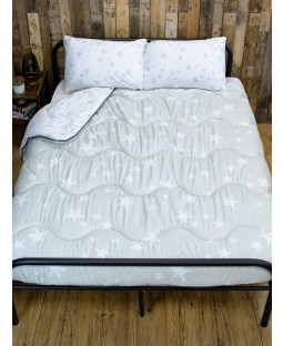 Grey Stars Coverless Double 10.5 Tog Quilt and Pillowcase Set