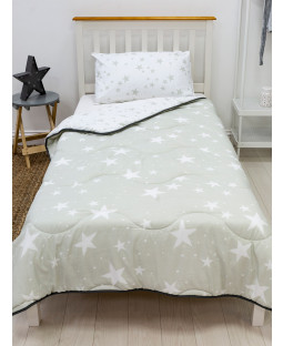 Grey Stars Coverless Single 4.5 Tog Quilt and Pillowcase Set