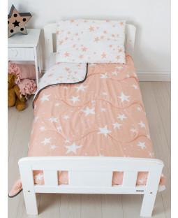 Pink Stars Coverless Junior 4 Tog trapunta e set di cuscini imbottiti
