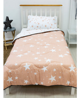 Pink Stars Coverless Single 10.5 Tog Quilt and Pillowcase Set
