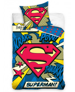 Superman Pow Single Cotton Duvet Cover and Pillowcase Set