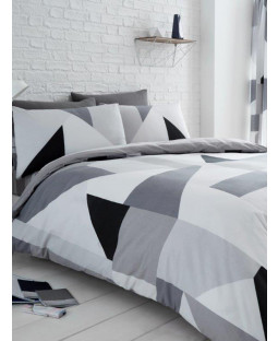 Sydney Grey Geometric King Size Duvet Cover and Pillowcase Set