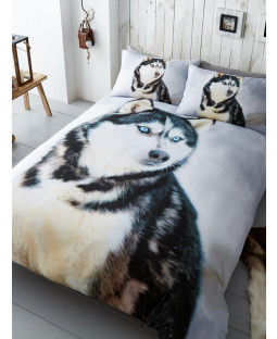 Husky Dog Double Duvet Cover and Pillowcase Set