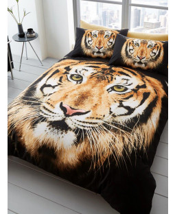 Tiger Face Double Duvet Cover and Pillowcase Set