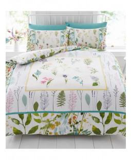 Botanical Flowers King Size Duvet Cover and Pillowcase Set