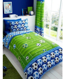 Goal Football Single Duvet Cover and Pillowcase Set - Blue