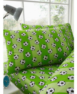 Green Football Single Fitted Sheet and Pillowcase Set
