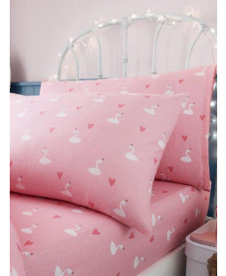 Princess Swans Single Fitted Sheet and Pillowcase Set