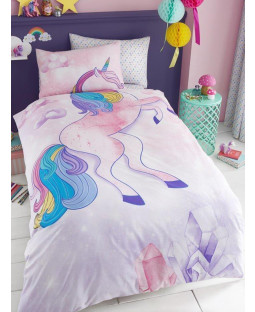 Unicorn Stars Single Duvet Cover and Pillowcase Set