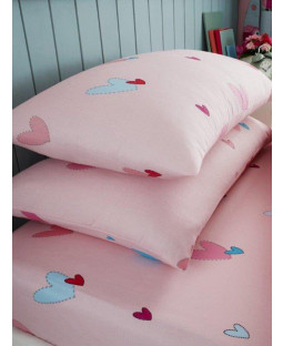 Hearts Single Fitted Sheet and Pillowcase Set