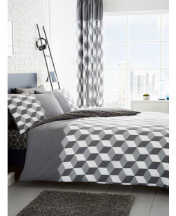 Cubix Geometric Double Duvet Cover and Pillowcase Set - Grey