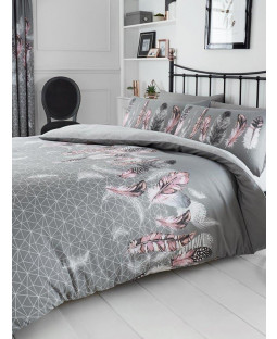 Geometric Feathers King Duvet Cover and Pillowcase Set - Grey