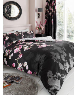 Roseanne Floral Double Duvet Cover and Pillowcase Set - Black