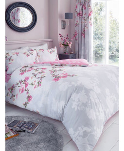 Roseanne Floral King Size Duvet Cover and Pillowcase Set - Grey