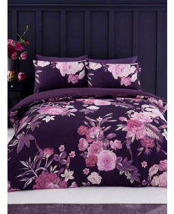 Flora King Size Duvet Cover and Pillowcase Set - Purple