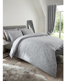 Metro Geometric Diamond King Size Duvet Cover Set - Grey