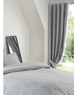 "Metro Geometric Diamond Lined Curtains 54"" Drop - Grey"