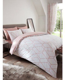 Metro Geometric Diamond Double Duvet Cover Set - Blush