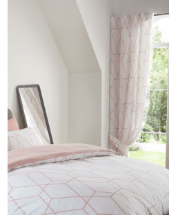 Metro Geometric Diamond Lined Curtains - Blush