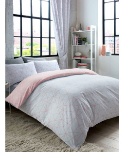Metro Prism Triangle King Size Duvet Cover Set - Blush / Grey