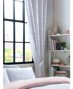 Metro Prism Triangle Lined Curtains - Blush / Grey