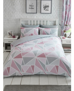 Metro Geometric Triangle King Size Duvet Cover Set - Pink / Grey