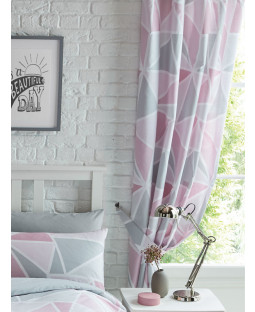 "Metro Geometric Triangle Lined Curtains - Pink / Grey 54""  Drop"