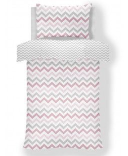 Metro Chevron Zig Zag Grey / Pink 4 in 1 Junior Bedding Bundle Set (Duvet, Pillow and Covers)