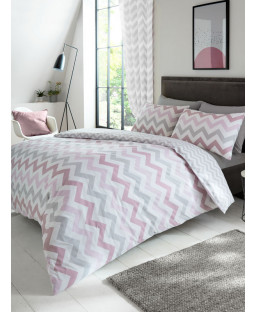 Metro Chevron Zig Zag Double Duvet Cover and Pillowcase Set - Pink / Grey