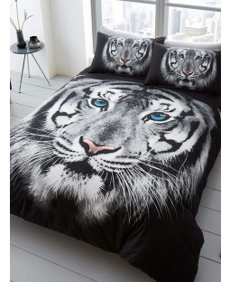 White Tiger Face Double Duvet Cover and Pillowcase Set