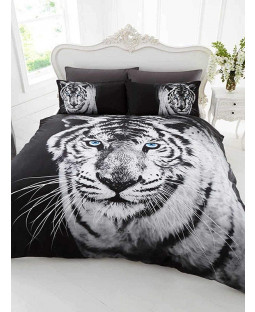 3D White Tiger Single Duvet Cover and Pillowcase Set