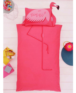 Flamingo Single Duvet Cover and Shaped Pillowcase Set