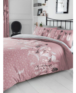 Geometric Feathers King Duvet Cover and Pillowcase Set - Pink