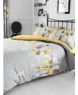 Geometric Feathers Double Duvet Cover and Pillowcase Set - Yellow