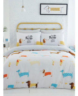 Sausage Dogs Double Duvet Cover Set - Mustard