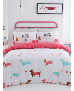 Sausage Dogs Double Duvet Cover Set - Pink