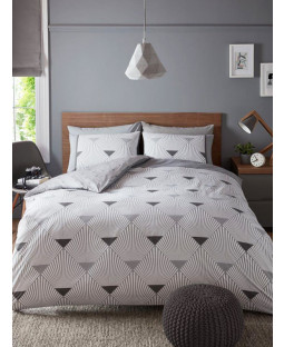 Metro Art Deco Geometric King Size Duvet Cover Set