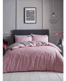 Huxley Dots Pom Pom Double Duvet Cover Set - Blush